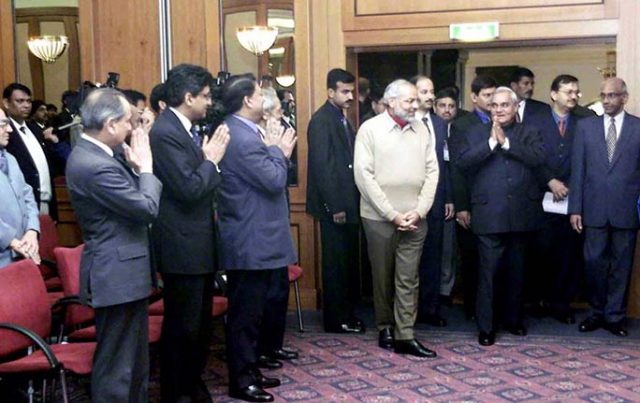 PM Shri Atal Bihari Vajpayee being greeted by representatives of the Indian Community at Kremlin. November 7, 2001