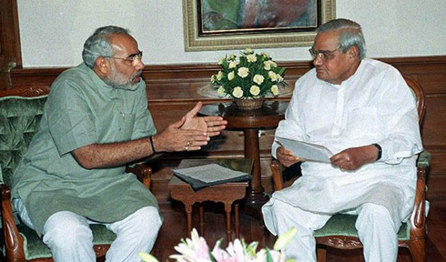 PM Shri Atal Bihari Vajpayee meets CM of Gujarat, Shri Narendra Modi. July 30, 2002