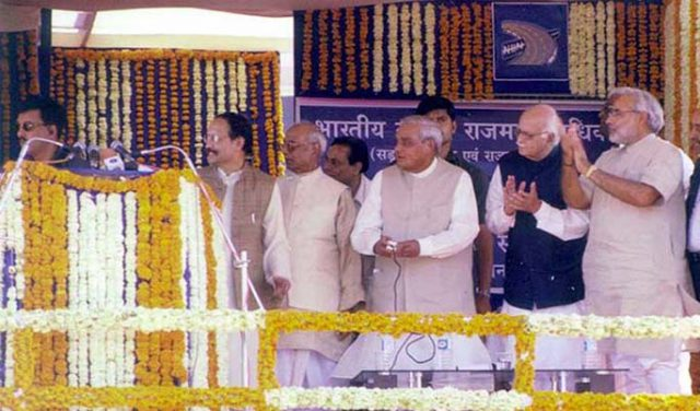 PM Shri Atal Bihari Vajpayee dedicates National Expressway No. 1 to the Nation at Ahmedabad. January 28, 2003