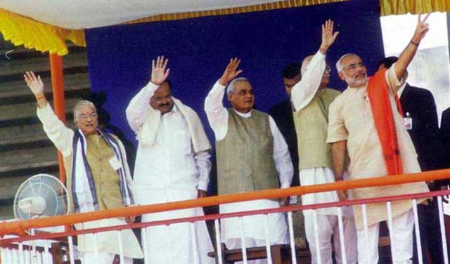 PM Shri Atal Bihari Vajpayee at Swearing-in ceremony of CM of Gujarat Shri Narendra Modi in Ahmedabad. December 22, 2002