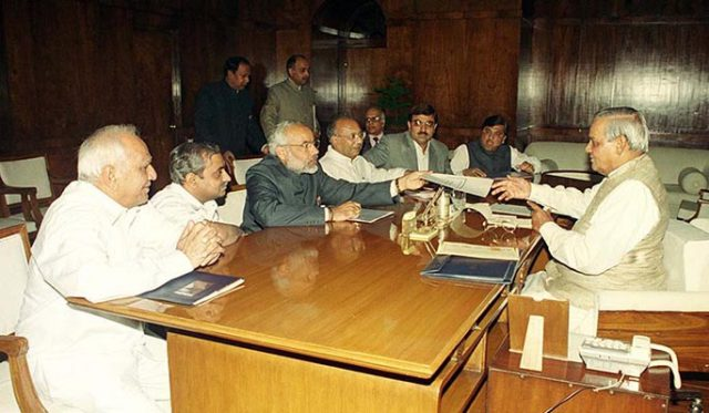 PM Shri Atal Bihari Vajpayee meets CM of Gujarat, Shri Narendra Modi. December 5, 2001