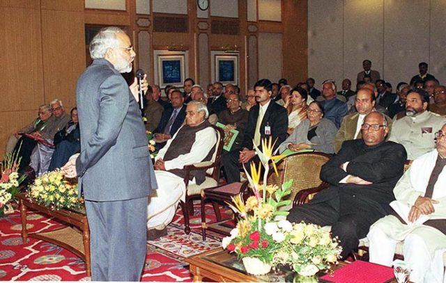 CM of Gujarat Shri Narendra Modi makes a presentation before the PM Shri Atal Bihari Vajpayee on the relief and rehabilitation measures undertaken in Bhuj. January 23, 2002