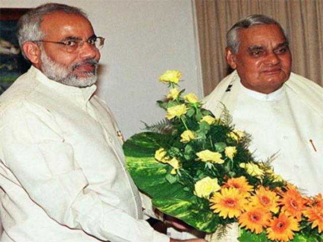 PM Shri Atal Bihari Vajpayee meets CM of Gujarat, Shri Narendra Modi. October 12, 2001.