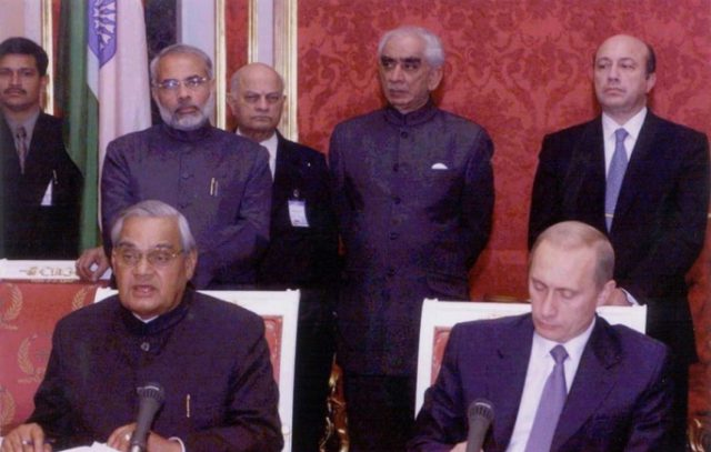 PM Shri Atal Bihari Vajpayee addressing the press after signing the Moscow Deceleration at Kremlin in Moscow. November 6, 2001