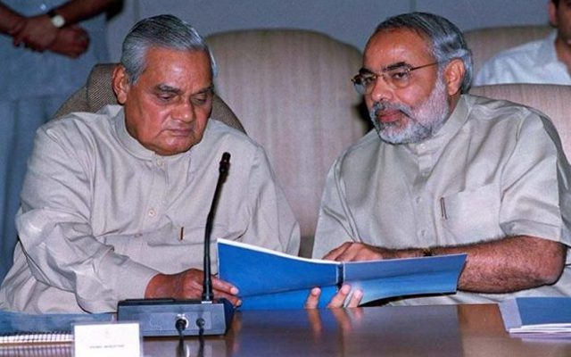 PM Shri Atal Bihari Vajpayee meets CM of Gujarat, Shri Narendra Modi